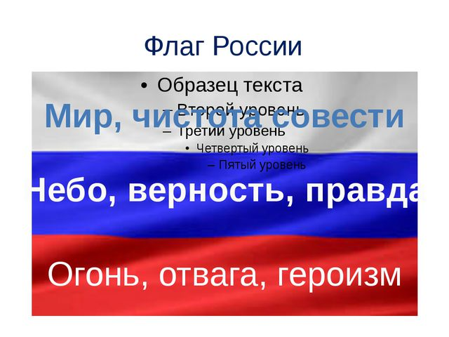 Флаг России Мир, чистота совести Небо, верность, правда Огонь, отвага, героизм