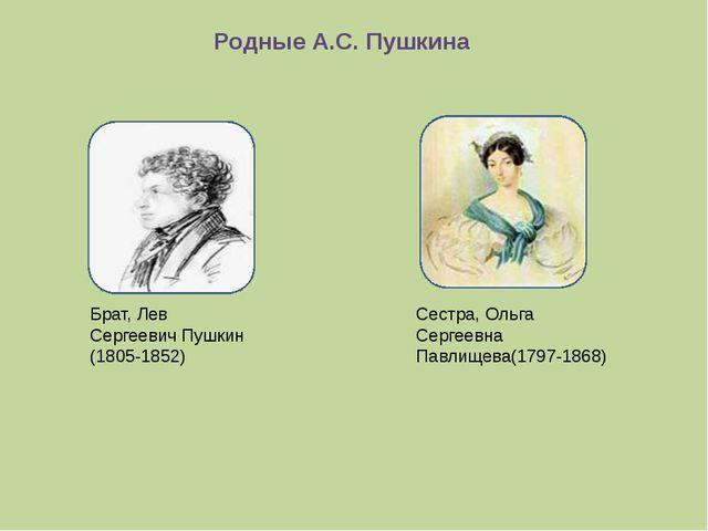 Родные А.С. Пушкина Брат, Лев Сергеевич Пушкин (1805-1852) Сестра, Ольга Серг...