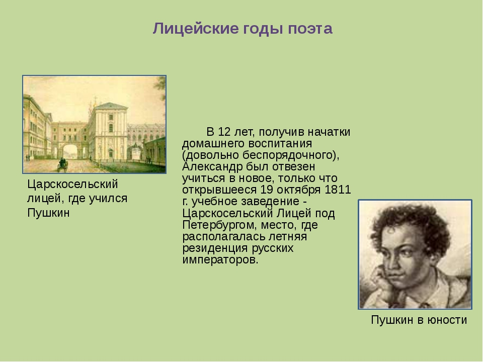 Лицейские годы поэта В 12 лет, получив начатки домашнего воспитания (довольн...