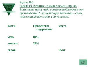 Задача №2. Задача из учебника «Химия 9 класс» стр. 38. Вычислите массу меди и