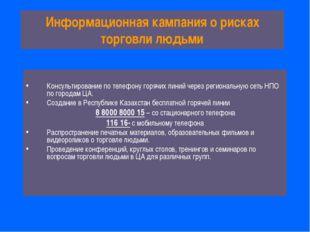 Информационная кампания о рисках торговли людьми Консультирование по телефону