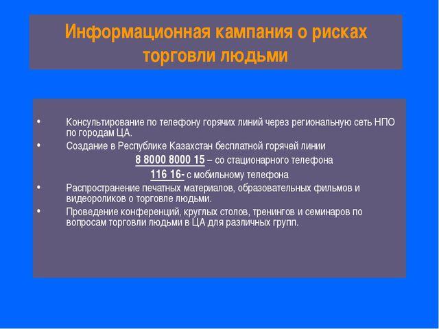 Информационная кампания о рисках торговли людьми Консультирование по телефону...