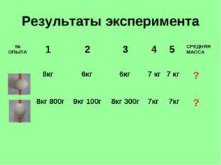 Результаты эксперимента № ОПЫТА  1 2 3 4 5СРЕДНЯЯ МАССА  8кг 6кг 6кг