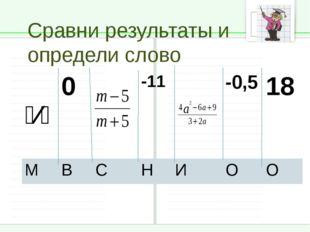 Сравни результаты и определи слово ⁵⁄⁴ 0 -11 -0,5 18 М В С Н И О О