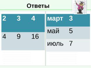 Ответы 2 3 4 4 9 16 март 3 май 5 июль 7