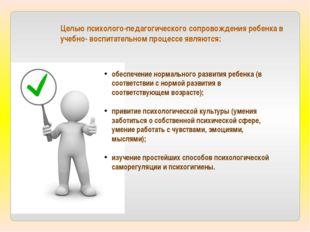 Целью психолого-педагогического сопровождения ребенка в учебно- воспитательно