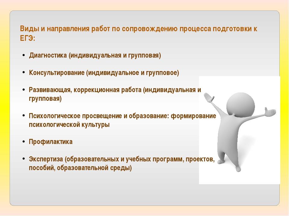Виды и направления работ по сопровождению процесса подготовки к ЕГЭ: Диагност...