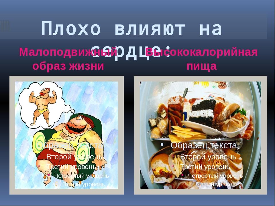 Плохо влияют на сердце: Малоподвижный образ жизни Высококалорийная пища