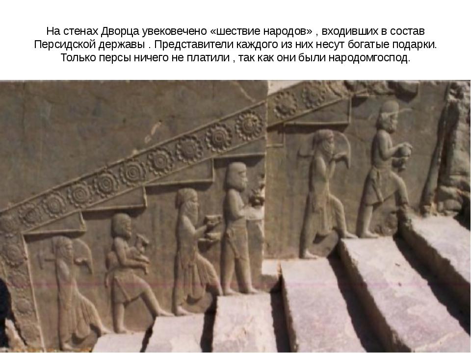 На стенах Дворца увековечено «шествие народов» , входивших в состав Персидско...