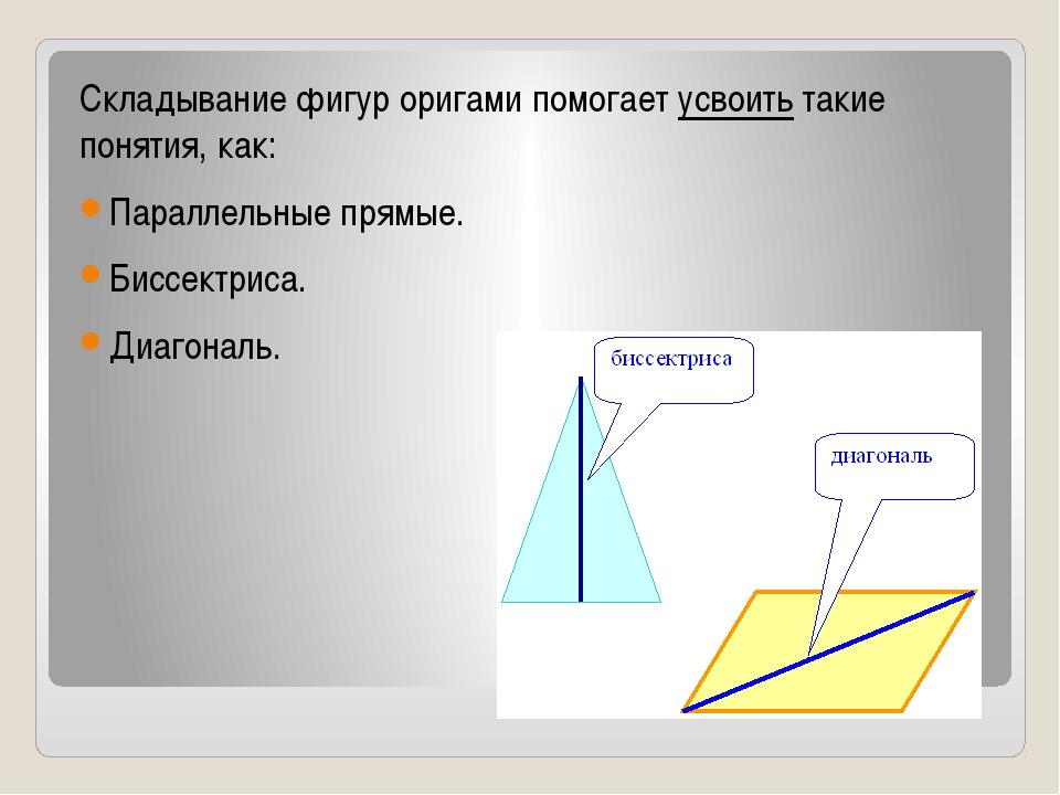 Складывание фигур оригами помогает усвоить такие понятия, как: Параллельные...