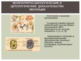 МОЛЕКУЛЯРНО-БИОЛОГИЧЕСКИЕ И ЦИТОЛОГИЧЕСКИЕ ДОКАЗАТЕЛЬСТВА ЭВОЛЮЦИИ Клеточное
