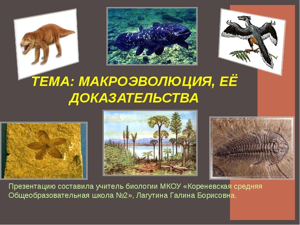ТЕМА: МАКРОЭВОЛЮЦИЯ, ЕЁ ДОКАЗАТЕЛЬСТВА Презентацию составила учитель биологии...
