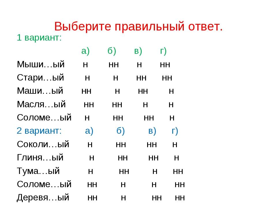 Выберите правильный ответ. 1 вариант: а) б) в) г) Мыши…ый н нн н нн Стари…ый...