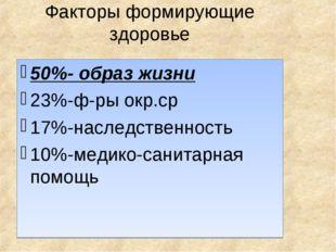 Факторы формирующие здоровье 50%- образ жизни 23%-ф-ры окр.ср 17%-наследствен