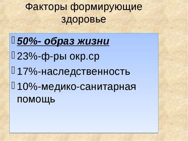 Факторы формирующие здоровье 50%- образ жизни 23%-ф-ры окр.ср 17%-наследствен...