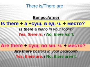 There is/There are Вопрос/ответ Is there + a +сущ. в ед. ч. + место? Is ther