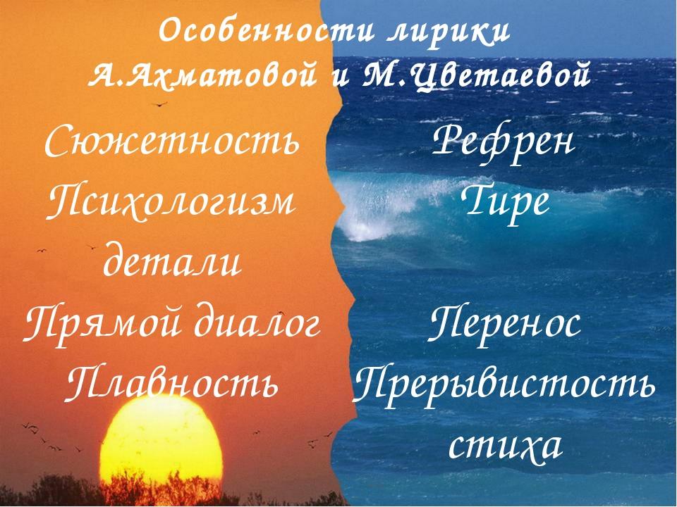 Особенности лирики А.Ахматовой и М.Цветаевой Сюжетность Психологизм детали Пр...