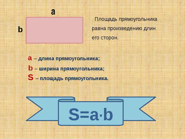 а b Площадь прямоугольника равна произведению длин его сторон. S=a·b a – дли...
