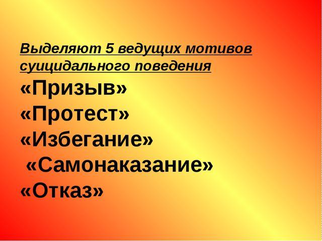 Выделяют 5 ведущих мотивов суицидального поведения «Призыв» «Протест» «Избег...