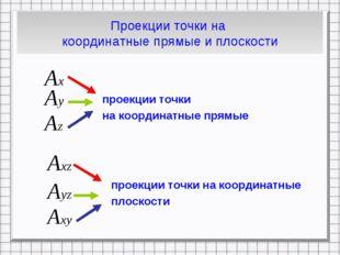 Проекции точки на координатные прямые и плоскости проекции точки на координат