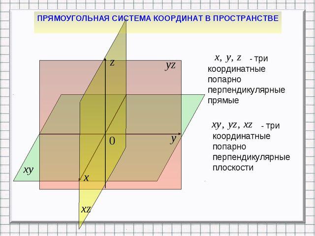 ПРЯМОУГОЛЬНАЯ СИСТЕМА КООРДИНАТ В ПРОСТРАНСТВЕ - три координатные попарно пер...