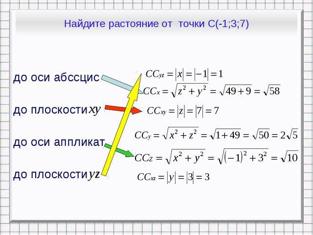 Найдите растояние от точки С(-1;3;7) до оси абссцис до плоскости до оси аппли...