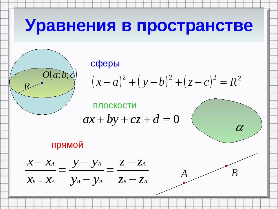 Уравнения в пространстве сферы плоскости прямой