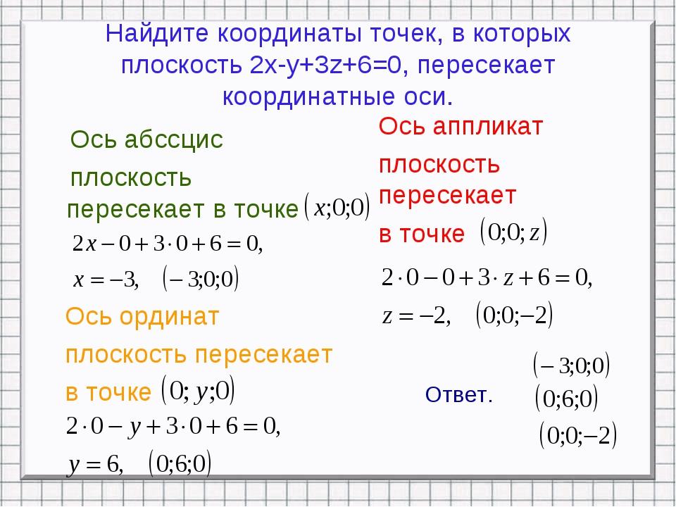 Найдите координаты точек, в которых плоскость 2x-y+3z+6=0, пересекает координ...