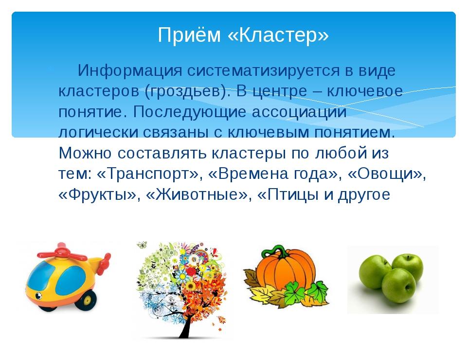 Информация систематизируется в виде кластеров (гроздьев). В центре – ключево...