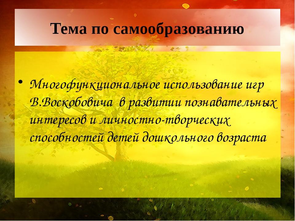 Тема по самообразованию Многофункциональное использование игр В.Воскобовича в...