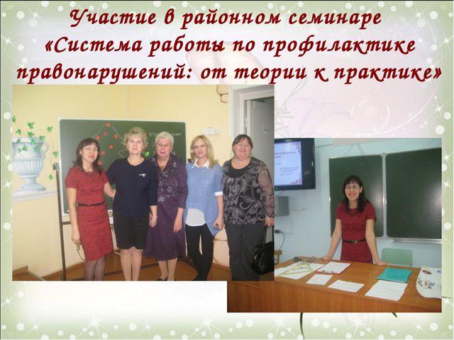 Участие в районном семинаре «Система работы по профилактике правонарушений: о...