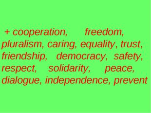 + cooperation, freedom, pluralism, caring, equality, trust, friendship, demo