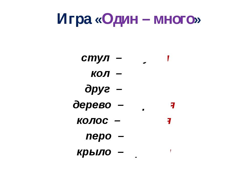 © InfoUrok.ru Игра «Один – много» стул – стулья кол – колья друг – друзья дер...