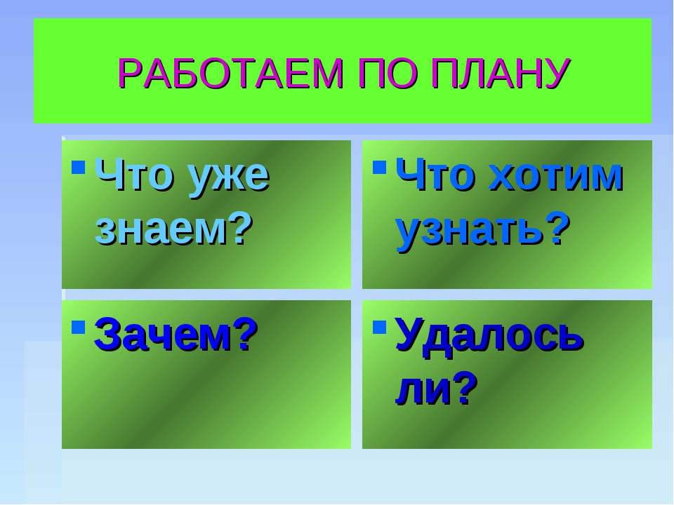 РАБОТАЕМ ПО ПЛАНУ Что уже знаем? Что хотим узнать? Зачем? Удалось ли?