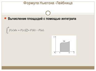 Формула Ньютона -Лейбница Вычисление площадей с помощью интеграла