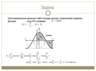Задача Тригонометрические функции. Найти площадь фигуры, ограниченной графико