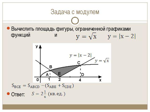 Задача с модулем Вычислить площадь фигуры, ограниченной графиками функций и О...