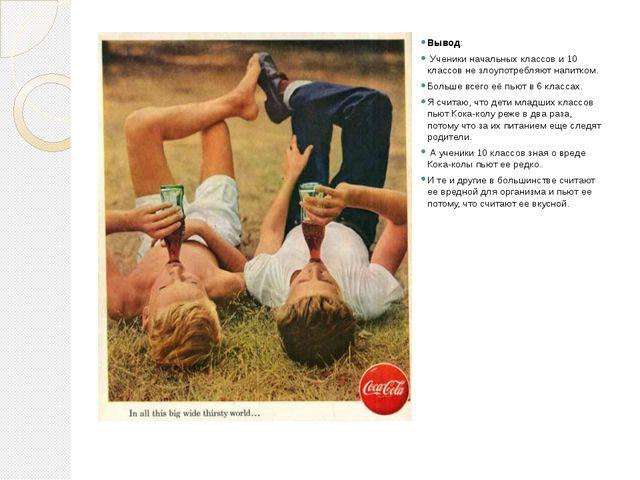 Вывод: Ученики начальных классов и 10 классов не злоупотребляют напитком. Бо...