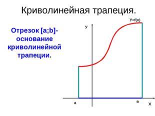 Криволинейная трапеция. Отрезок [a;b]- основание криволинейной трапеции. Х У