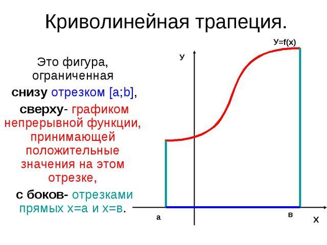 Криволинейная трапеция. Это фигура, ограниченная снизу отрезком [a;b], сверху...