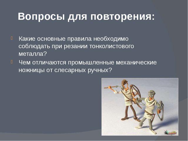 Вопросы для повторения: Какие основные правила необходимо соблюдать при резан...