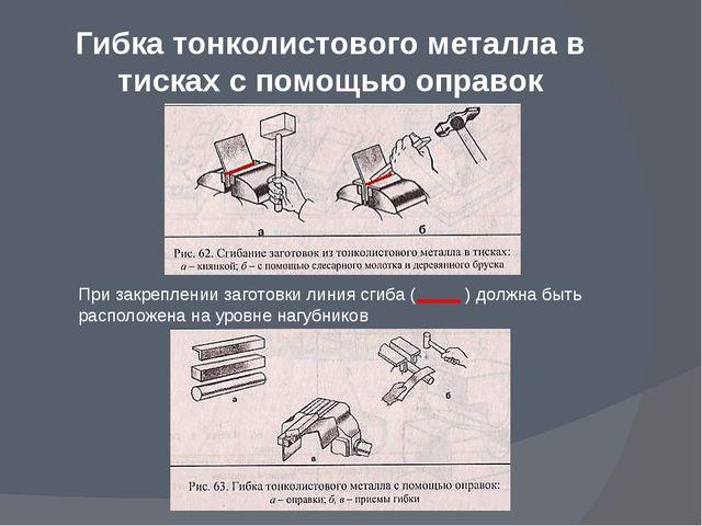 Гибка тонколистового металла в тисках с помощью оправок При закреплении загот...