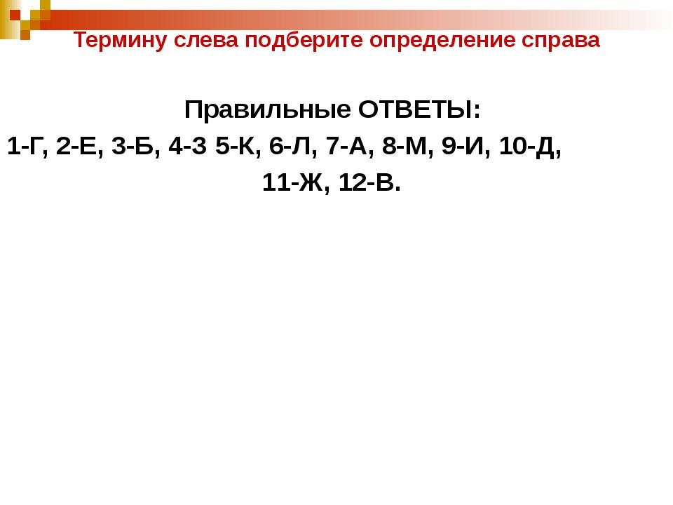 Термину слева подберите определение справа Правильные ОТВЕТЫ: 1-Г, 2-Е, 3-Б,...