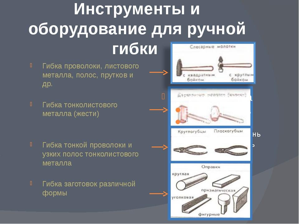Инструменты и оборудование для ручной гибки Гибка проволоки, листового металл...