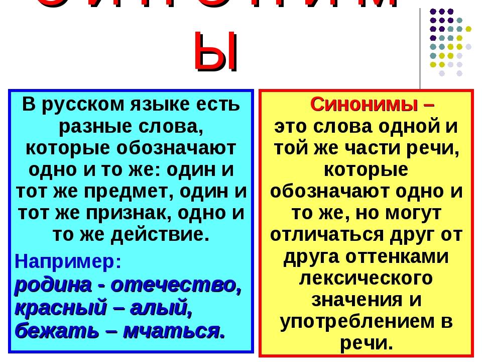 С И Н О Н И М Ы В русском языке есть разные слова, которые обозначают одно и...