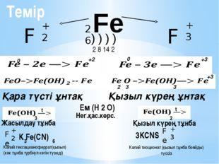 Fe Fe +2 Fe +3 26 ) ) ) ) 2 8 14 2 0 +2 0 +3 2 3 3 +3 Қара түсті ұнтақ Қызыл