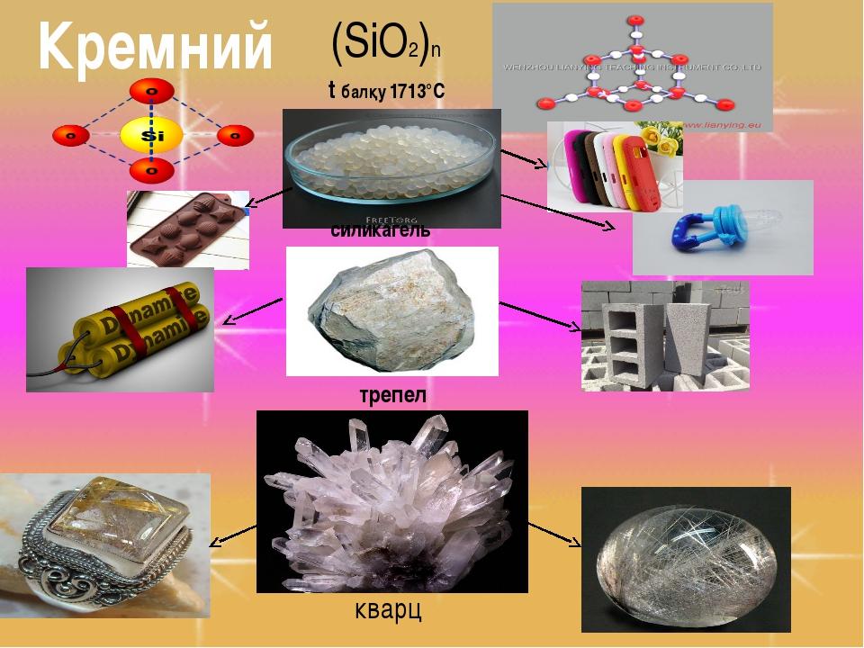 (SiO2)n силикагель трепел t балқу 1713°С кварц Кремний