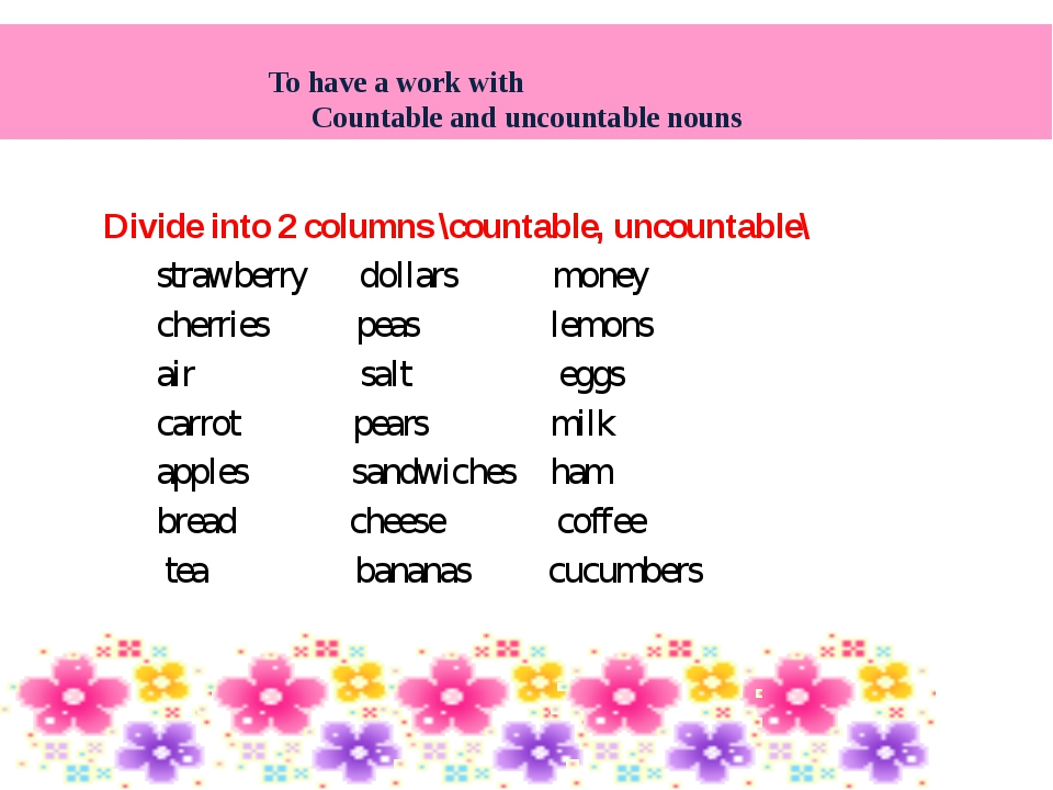 Divide into 2 columns \countable, uncountable\ strawberry dollars money cher...