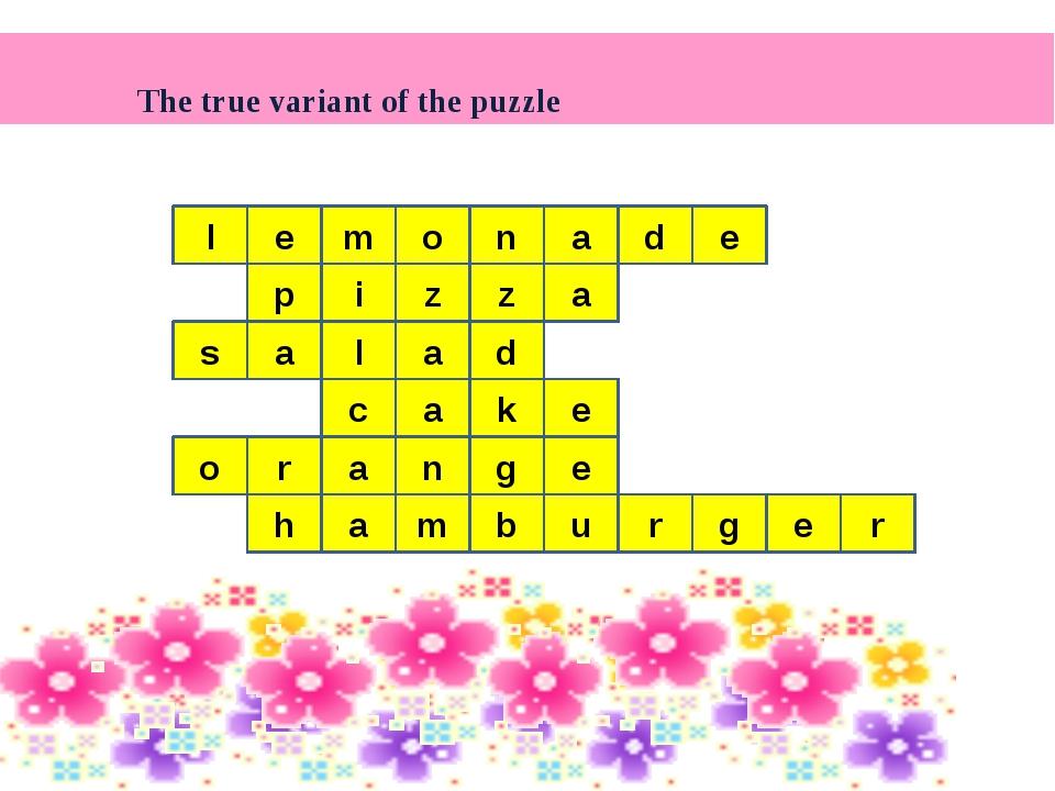 The true variant of the puzzle m d l e e p i z z a l a s a d c a e k o n g a...