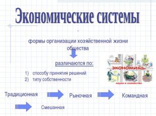 - формы организации хозяйственной жизни общества cпособу принятия решений тип